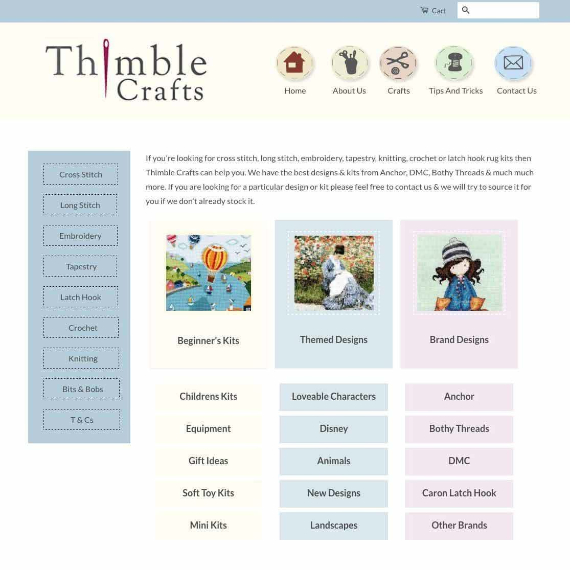 Thimble Crafts website design