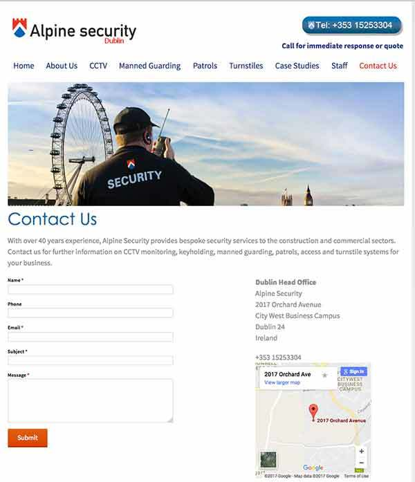 Alpine Security website design