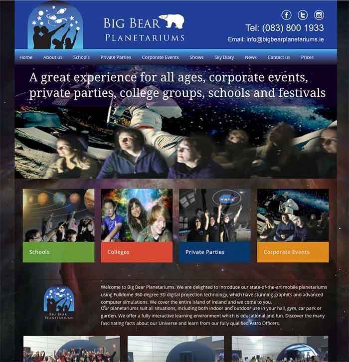 Big Bear Planetariums website design