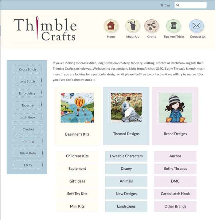 Thimble Crafts website design