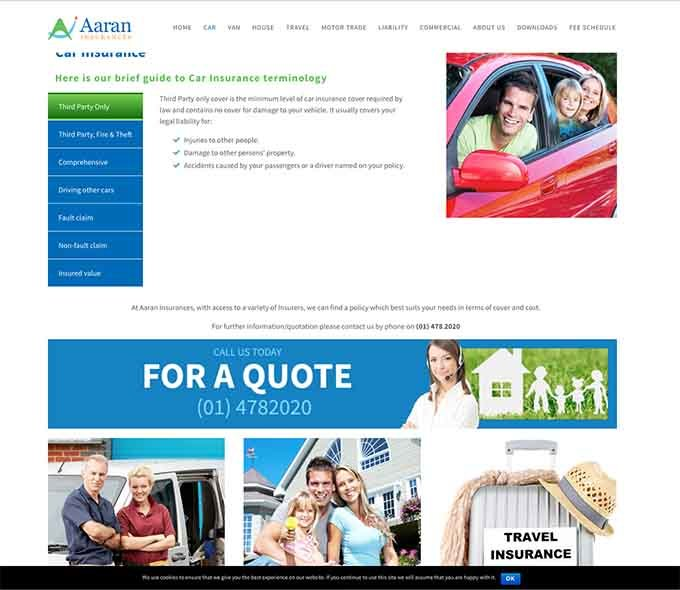 Aaron Insurances website design