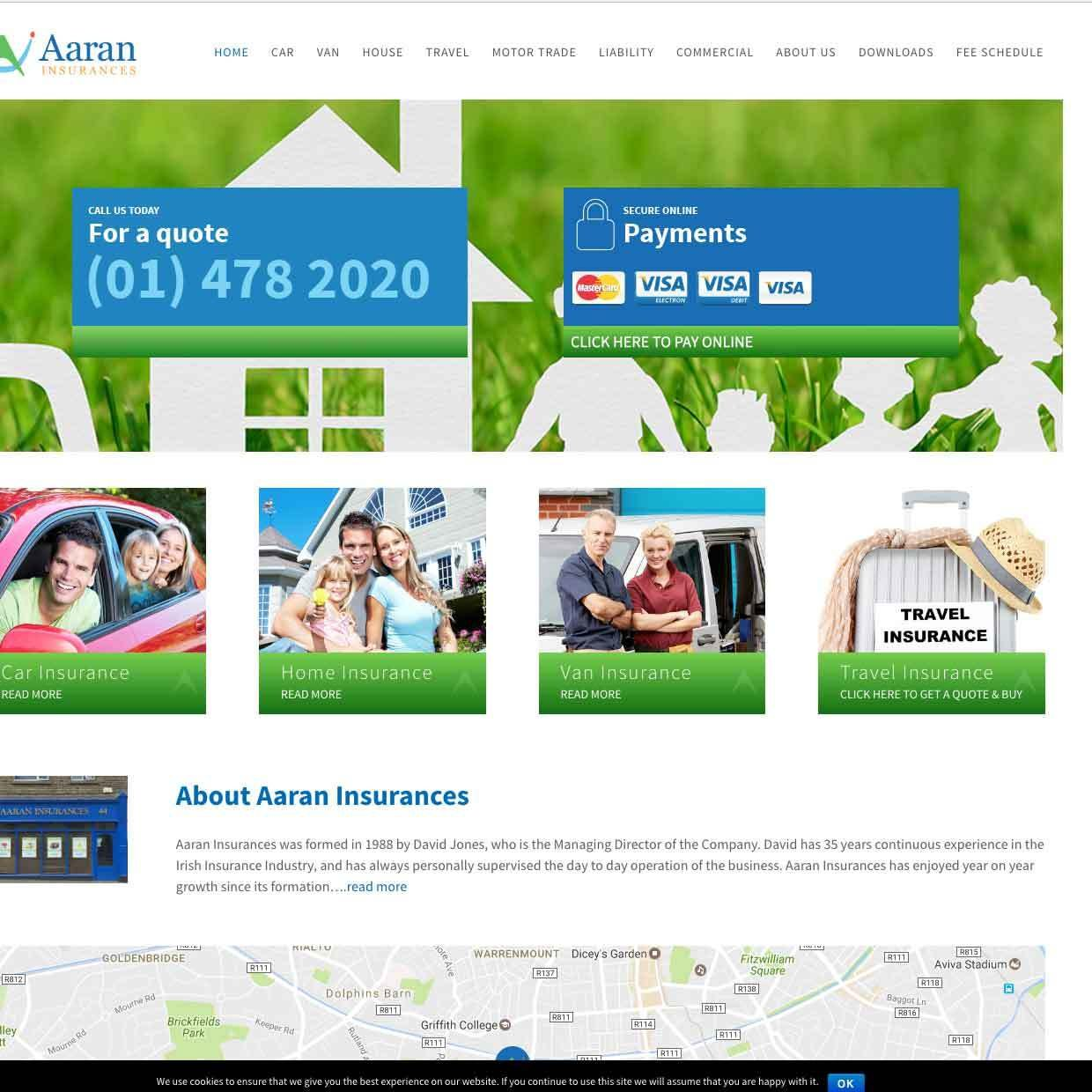 Aran Insurances website design