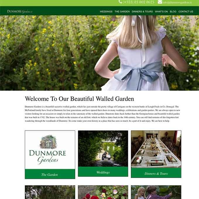 Dunmore Gardens website design